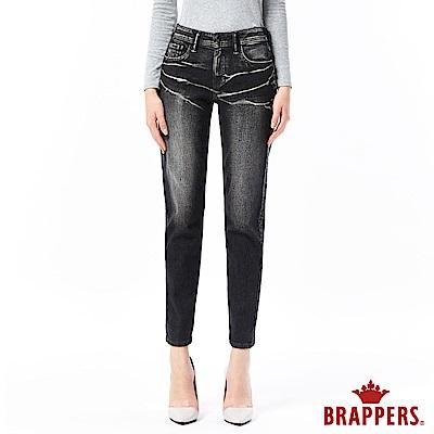 BRAPPERS 女款 Boy Friend 系列-女用彈性八分反摺褲-黑