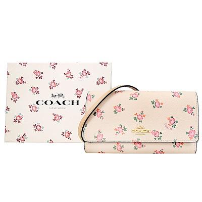 COACH 小碎花皮革翻蓋手拿/斜背包(禮盒組) (粉膚)