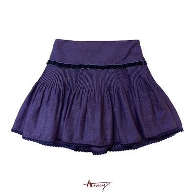 Annys奇幻絨質壓條壓褶蕾絲襬短裙*6271紅