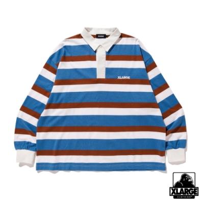 XLARGE RUGBY STRIPE SHIRT條紋長袖POLO衫-藍