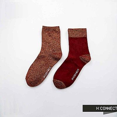 H:CONNECT 韓國品牌 ~配色混織LOGO長襪~紅