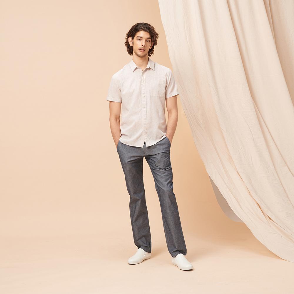 GIORDANO 男裝素色彈性修身長褲-68 藍色