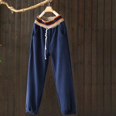 軟糯柔滑抽繩鬆緊腰加絨運動褲寬鬆束腳長褲-設計所在