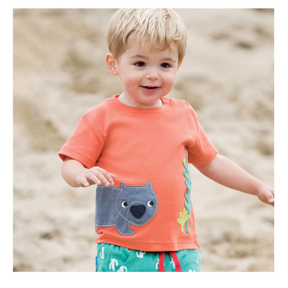 男童 中小童 歐美風格舒柔棉短袖T恤-橘色