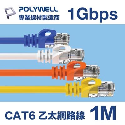 POLYWELL CAT6 高速乙太網路線 UTP 1Gbps 1M