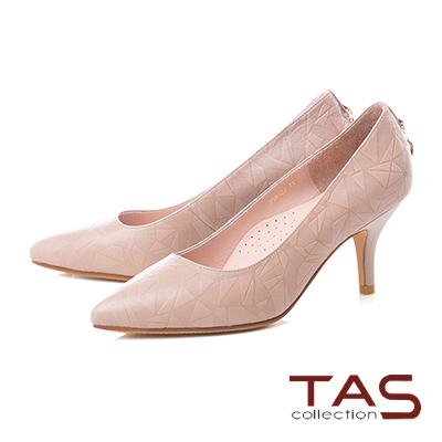 TAS小D綴飾菱格壓紋羊皮尖頭高跟鞋-質感膚