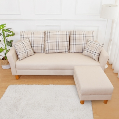Boden-米洛克貓抓皮L型沙發椅組合(3人+椅凳)(送抱枕)(二色可選)