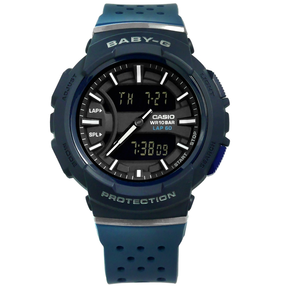 Baby-G CASIO 卡西歐 慢跑運動 雙顯 防水 透氣 橡膠手錶-黑x深藍/42mm