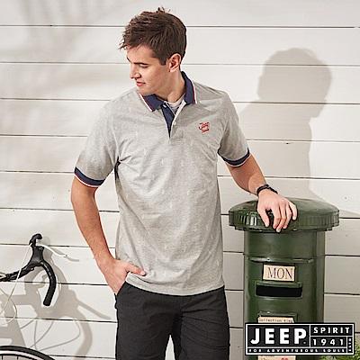 JEEP 滿版造型印花短袖POLO衫-灰色