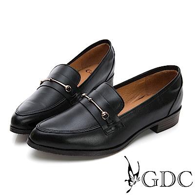 GDC-歐風真皮簡約知性尖頭鞋-黑色