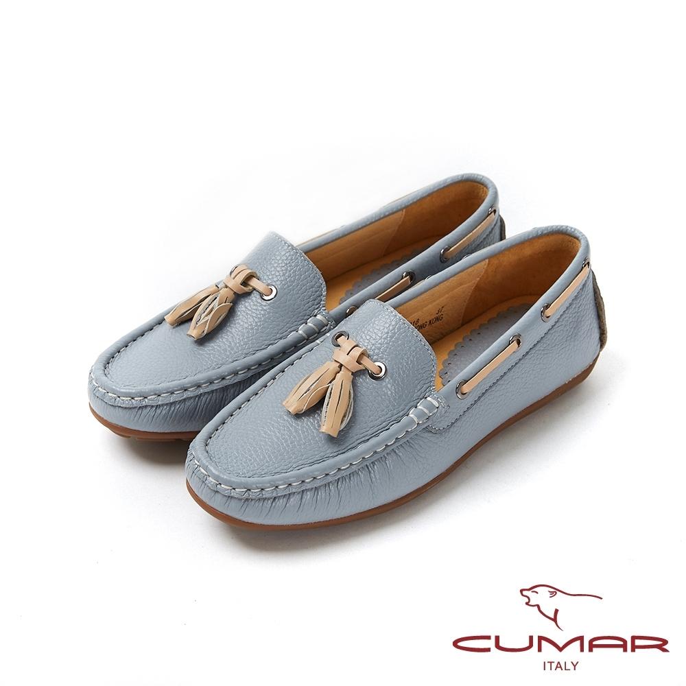 【CUMAR】悠遊輕井澤 - 簡約配色流蘇帆船鞋休閒鞋-藍灰