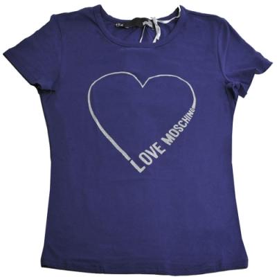 LOVE MOSCHINO 銀彩愛心字母LOGO棉質短袖T恤(藍色/42號)