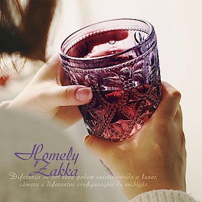 Homely Zakka 午茶食光歐式古典浮雕玻璃杯(寶石格紋)400ml-晶紫
