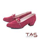 TAS一字金屬扣飾麂皮尖頭樂福粗跟鞋-復古酒紅