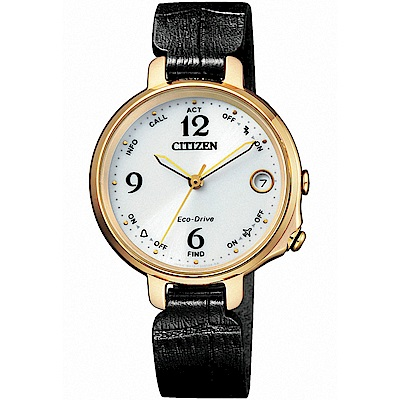 CITIZEN星辰 Ladies 光動能藍牙連線女錶EE4022-16A)-黑色錶帶
