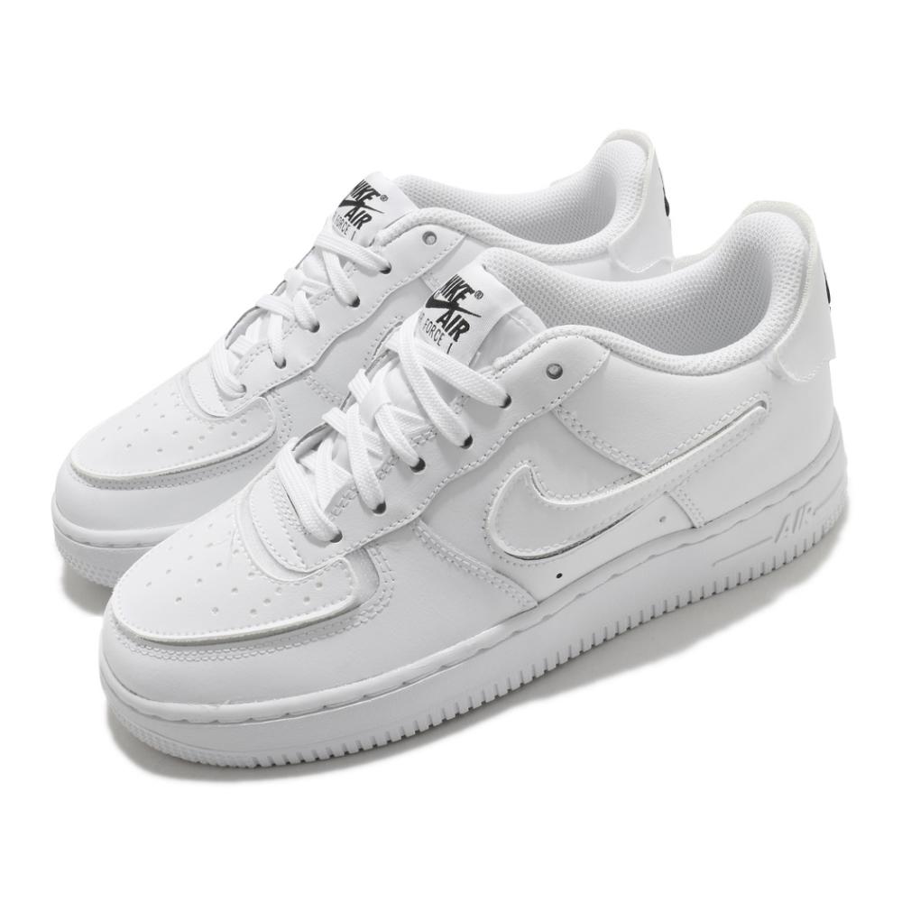 Nike 休閒鞋 AF1 1 經典款 運動 女 魔鬼氈 簡約 可換勾勾 大童 白 DB2812100