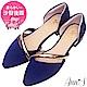 Ann'S名媛氣質-金色斜帶側空尖頭鞋 寶藍 product thumbnail 1