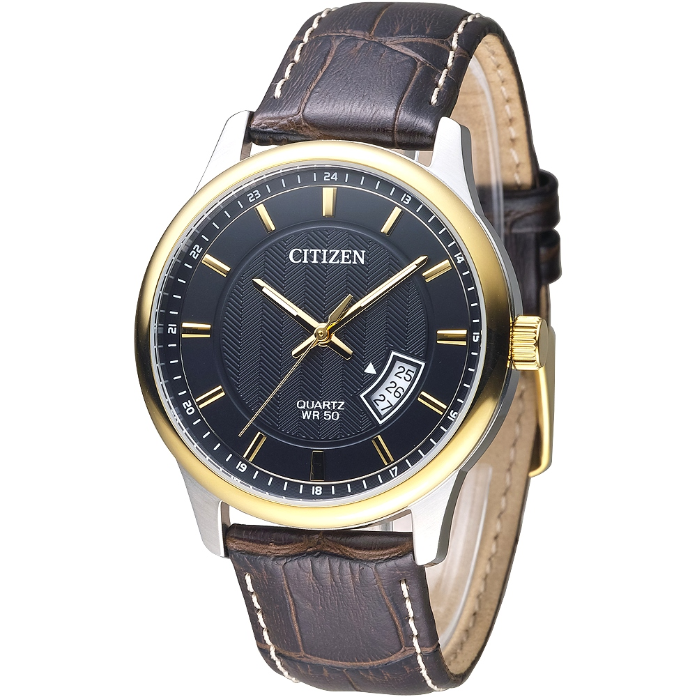 CITIZEN 都會之星品味男錶-IP金框/咖啡皮帶(BI1054-12E)/40mm