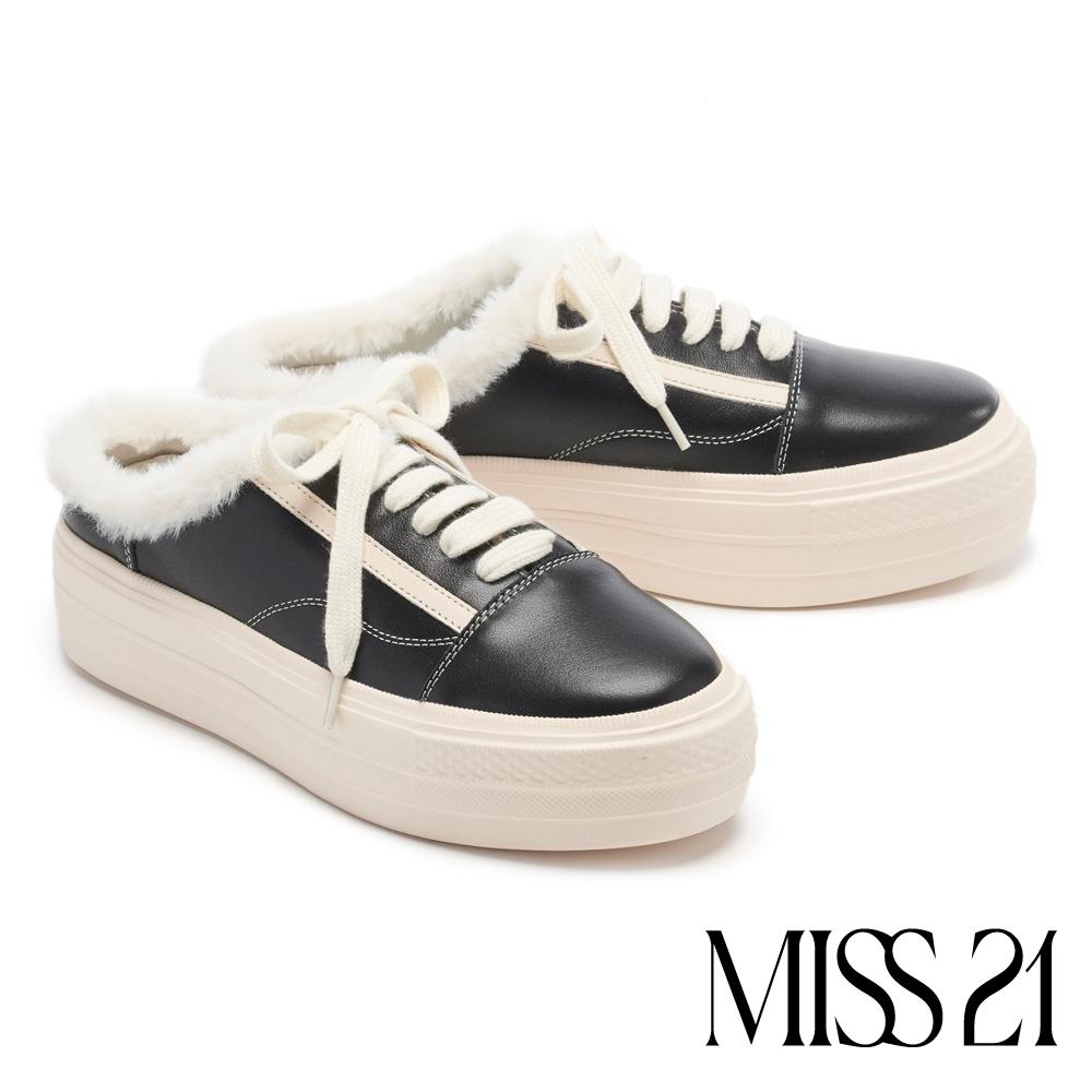 拖鞋 MISS 21 率性可愛毛毛綁帶厚底休閒拖鞋-黑