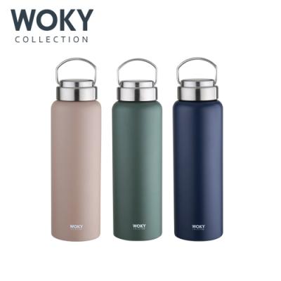 【WOKY 沃廚】提手輕量陶瓷易潔層保溫瓶800ML(3色可選)(快)