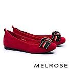 平底鞋 MELROSE 復古奢華晶鑽多色織帶蝴蝶結平底鞋-紅