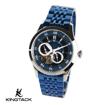 KINGTAGK 時尚鏤空羅馬中性機械錶38mm藍