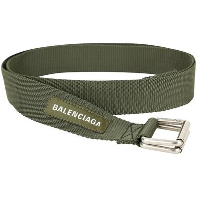 BALENCIAGA Army 仿舊雙環字母標籤織紋腰帶(軍綠色)