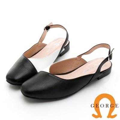 【GEORGE 喬治皮鞋】真皮撞色小方頭低跟鞋-黑