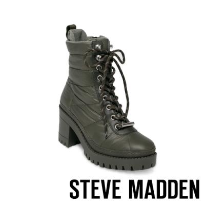 STEVE MADDEN-BREAKER 英倫率性保暖綁帶粗跟中筒靴-墨綠色