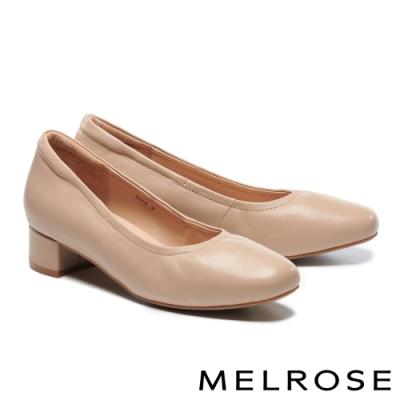 低跟鞋 MELROSE 經典極簡純色素面全羊皮低跟鞋-米