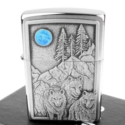 ZIPPO 美系~Wolf Pack and Moon-狼群與藍月打火機