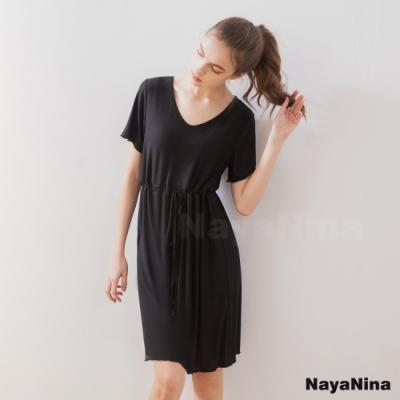 Naya Nina 顯瘦收腰涼感冰絲柔棉無鋼圈BRA罩杯短袖居家服睡裙(時尚黑)