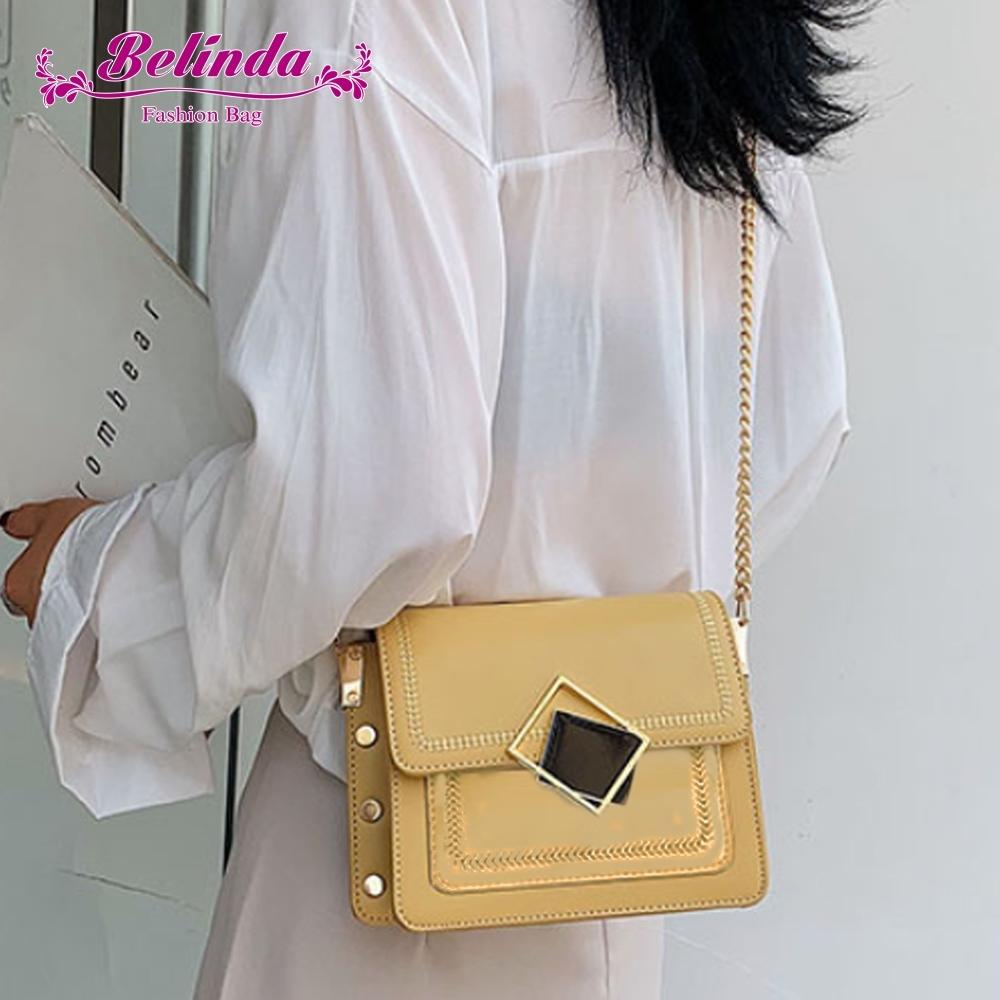 【Belinda】斯佩亞雙菱形鍊條小方側背斜背包(黃色)