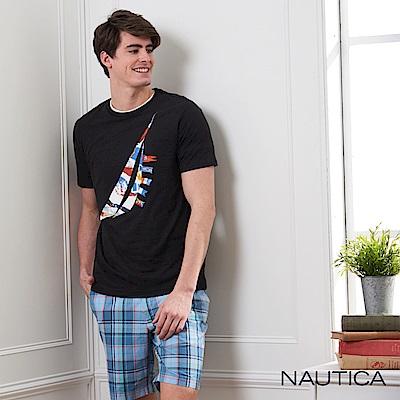 Nautica 世界旗幟圖騰LOGO短袖T恤-黑