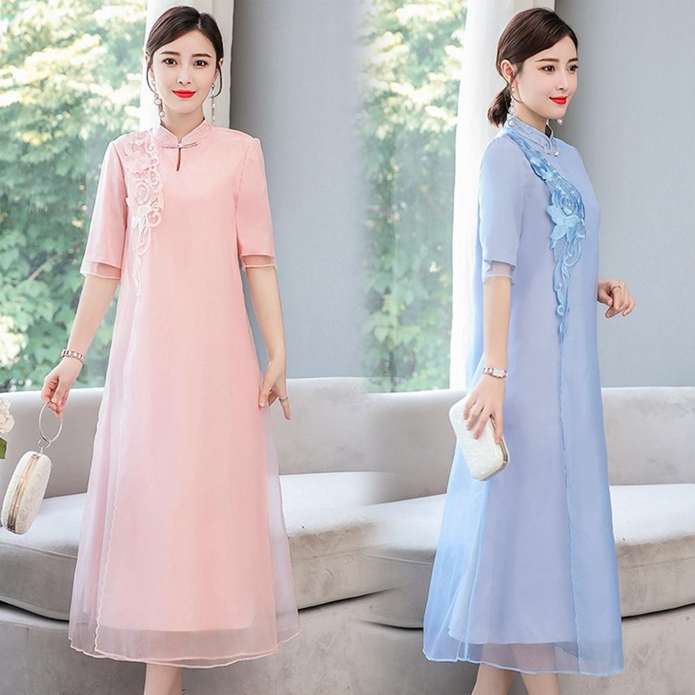 中國風復古手工盤釦立領刺繡改良旗袍M-3XL(共二色)REKO