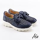A.S.O  超彈力 蝴蝶結超彈力休閒鞋 深藍