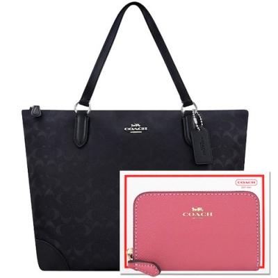 COACH 黑色大C輕量尼龍托特包+莓紅色防刮皮革拉鍊名片夾/零錢包