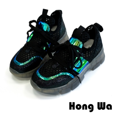 Hong Wa 設計潮鞋‧拼接牛皮綁帶厚底老爹鞋 - 綠黑
