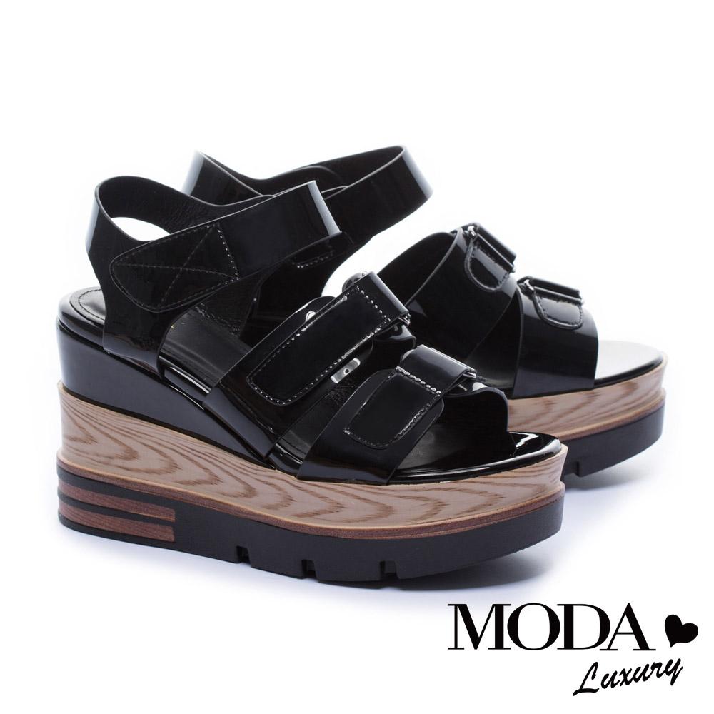涼鞋 MODA Luxury 夏日個性鏡面條帶厚底涼鞋-黑