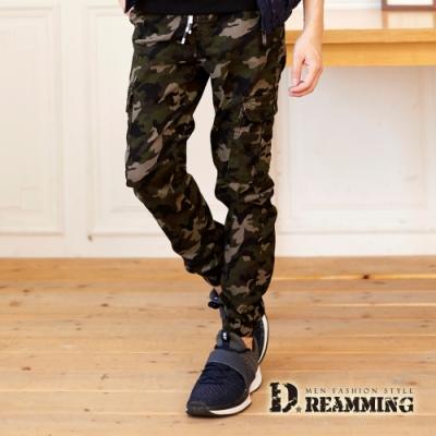 Dreamming 戰鬥迷彩抽繩多口袋休閒縮口長褲 工裝褲-軍綠
