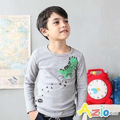 Azio Kids 上衣 恐龍腳印印花圓領長袖T恤(花灰)