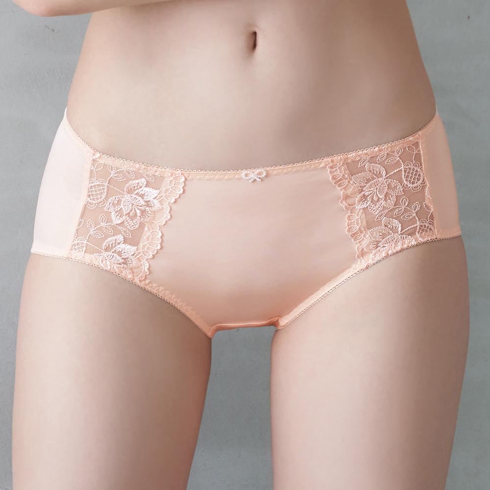 推EASY SHOP-愛戀花鏡 中腰平口褲(清恬橙)