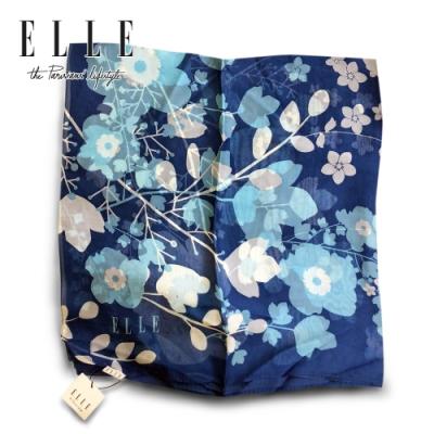 ELLE優質桑蠶絲法式優雅圖印花圖案披肩圍脖