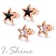 I-Shine-西德鋼-小星星-個性五角星造型玫瑰金鈦鋼耳針耳環DA31 product thumbnail 1