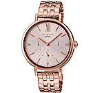 SHEEN粉嫩色系簡約風格多重指針腕錶(SHE-3064PG-4)蜜桃金34mm