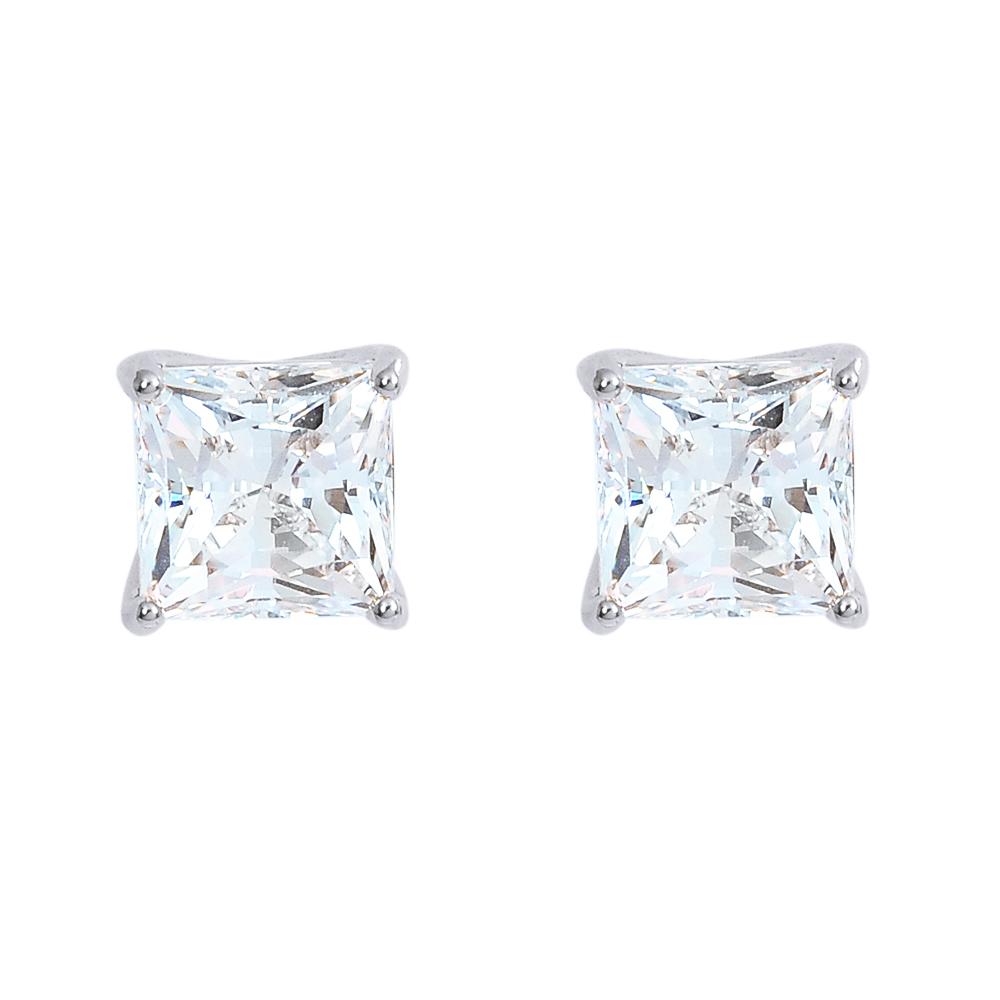 SWAROVSKI 施華洛世奇 ATTRACT璀璨水晶方型銀色耳環
