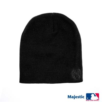 MLB-洋基純色電繡質感毛帽-黑