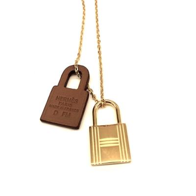 Hermes 2019 最新款 焦糖/金 KELLY鎖頭皮革項鍊