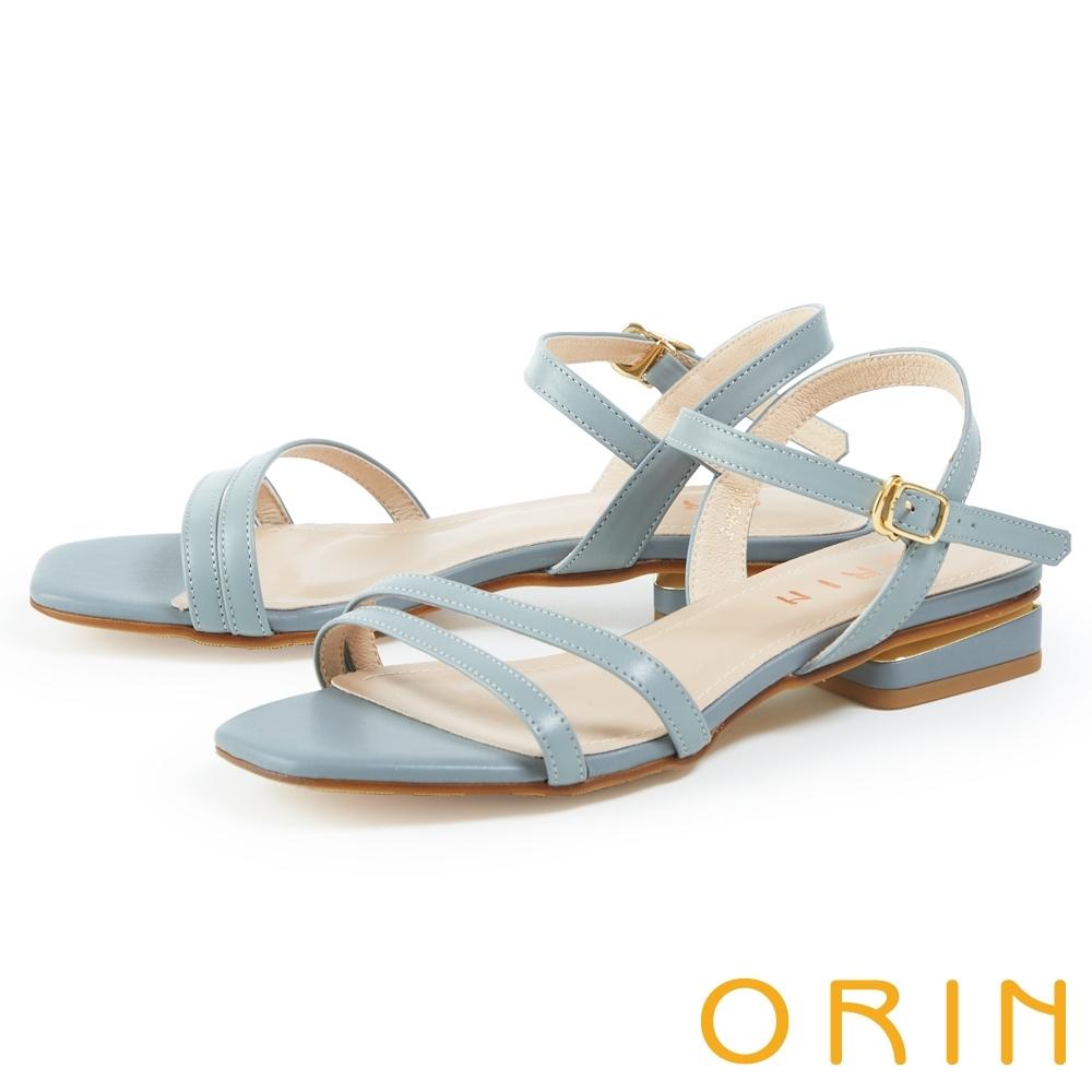 ORIN 細版牛皮踝繞帶低跟 女 涼鞋 淺藍