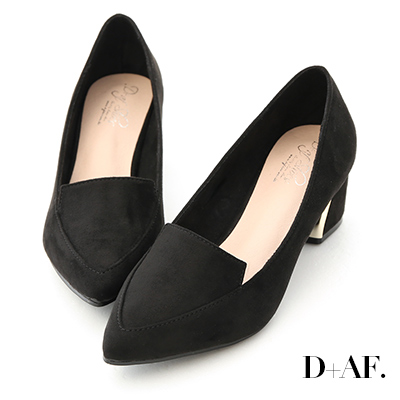 D+AF 都會典雅.素面絨料尖頭鍍金跟鞋*黑